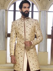Beige Reception Art Raw Silk Sherwani