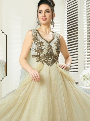 Beige Reception Art Silk Readymade Gown