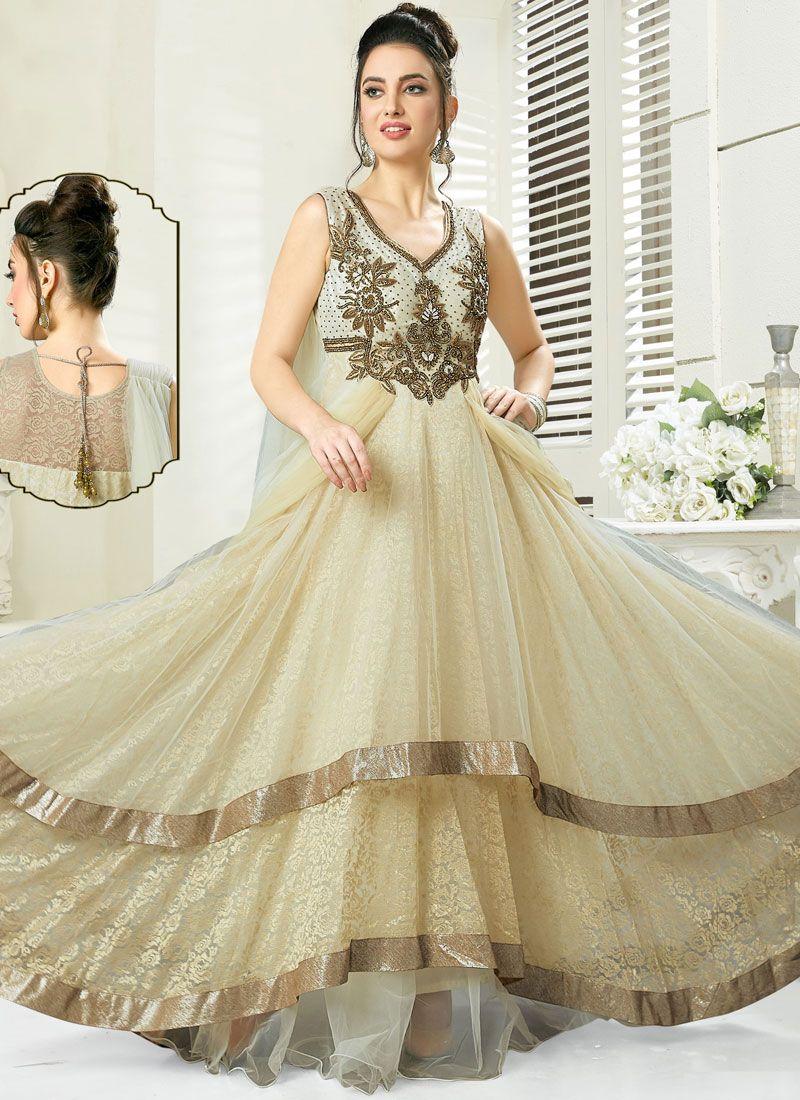 Beige Reception Art Silk Readymade Gown