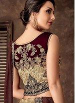 Beige Reception Jacquard Silk Lehenga Style Saree