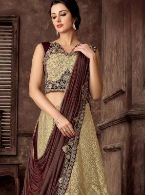 Beige Reception Jacquard Silk Lehenga Style Saree