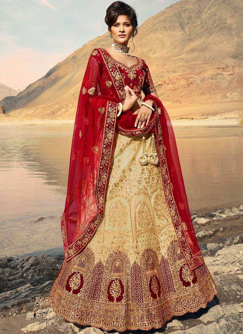 Beige Reception Satin Designer A Line Lehenga Choli