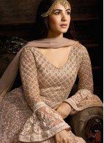 Beige Reception Trendy Anarkali Salwar Kameez