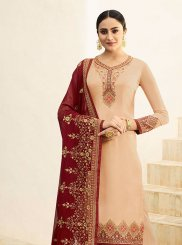 Beige Resham Designer Pakistani Suit