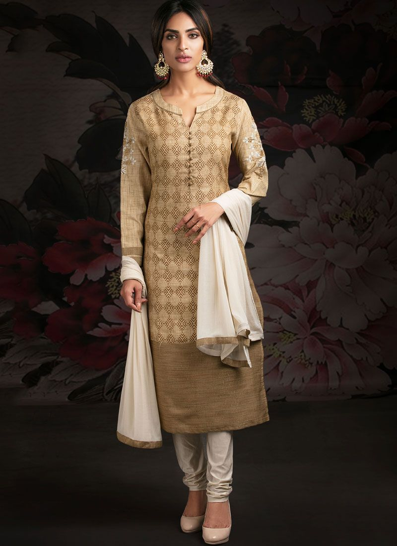 Beige Sangeet Churidar Designer Suit