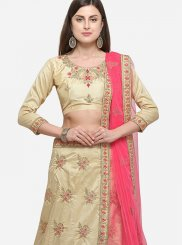 Beige Satin Silk Diamond Designer Lehenga Choli