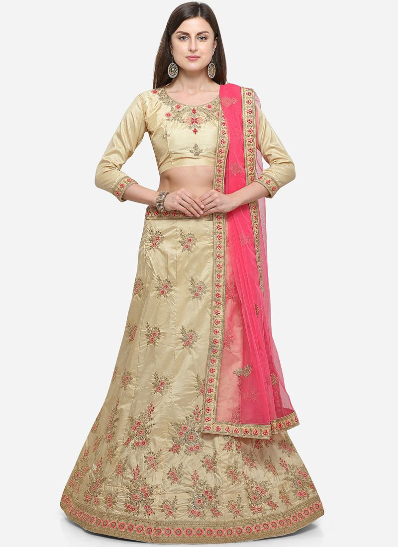 Beige Satin Silk Diamond Designer Lehenga Choli