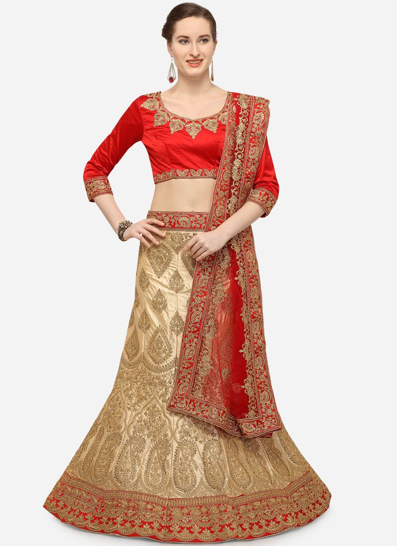 Beige Satin Silk Embroidered Designer Lehenga Choli