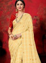 Beige Silk Party Trendy Saree