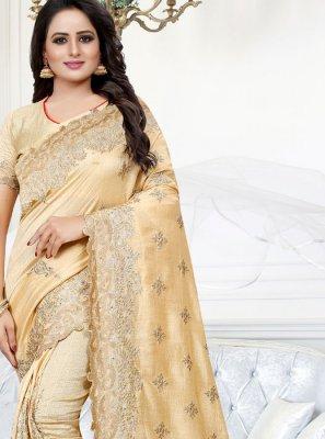 Beige Silk Reception Traditional Saree