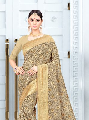 Beige Silk Traditional Saree