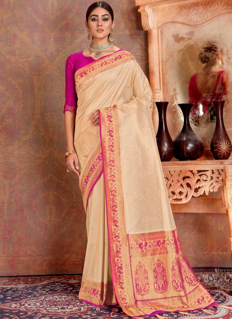 Beige Silk Weaving Traditional Saree