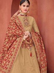 Beige Stone Jacquard Silk Trendy Lehenga Choli