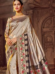 Beige Stone Work Art Raw Silk Classic Designer Saree