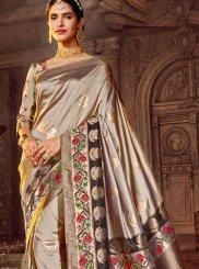 Beige Stone Work Art Raw Silk Classic Designer Saree