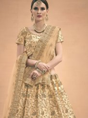 Beige Thread Work Party A Line Lehenga Choli