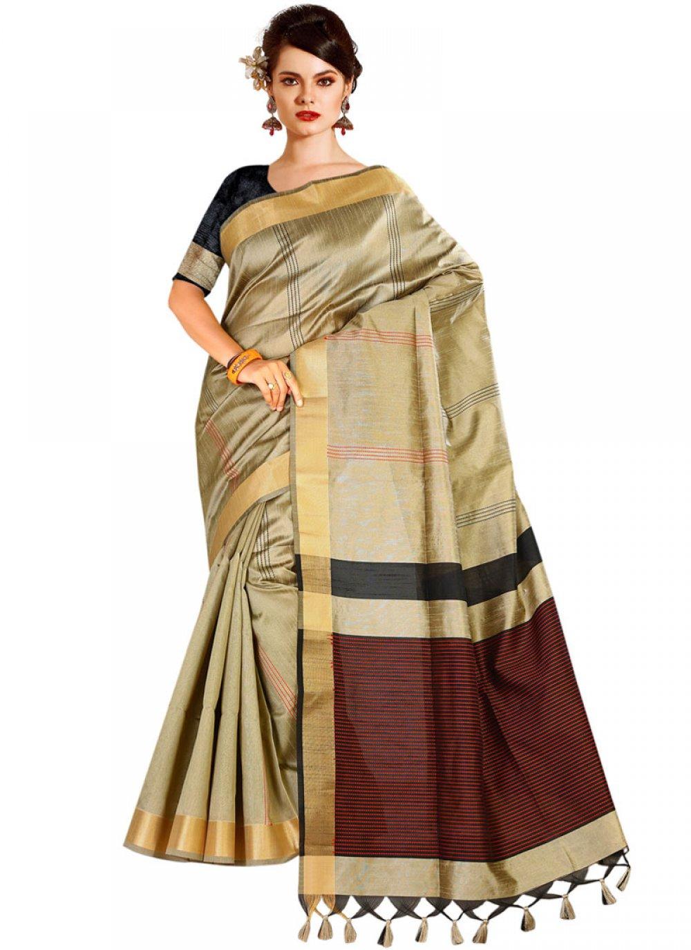Beige Tussar Silk Designer Traditional Saree