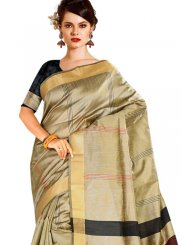 Beige Tussar Silk Designer Traditional Saree