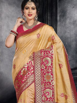 Beige Weaving Designer Saree