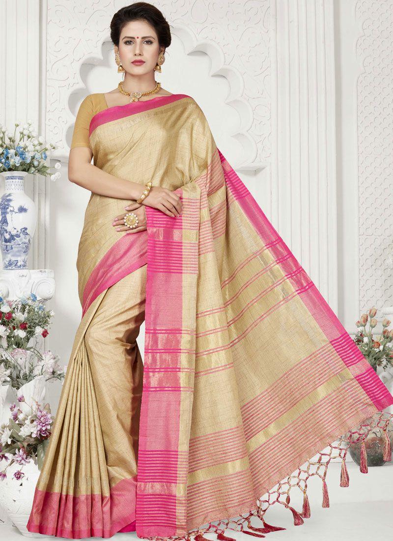 Beige Weaving Linen Classic Designer Saree