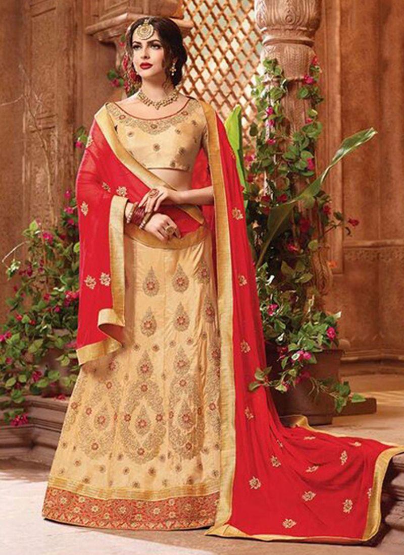 Beige Wedding Art Silk Lehenga Choli