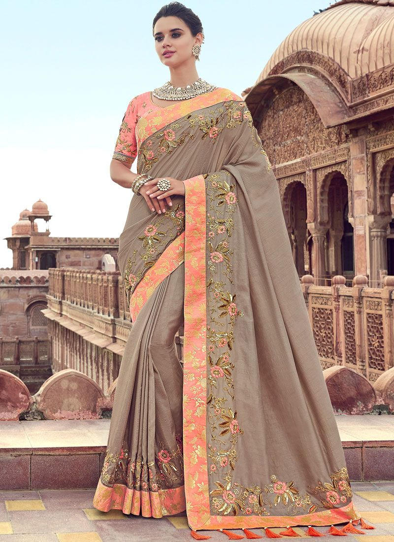 Beige Wedding Designer Traditional Saree