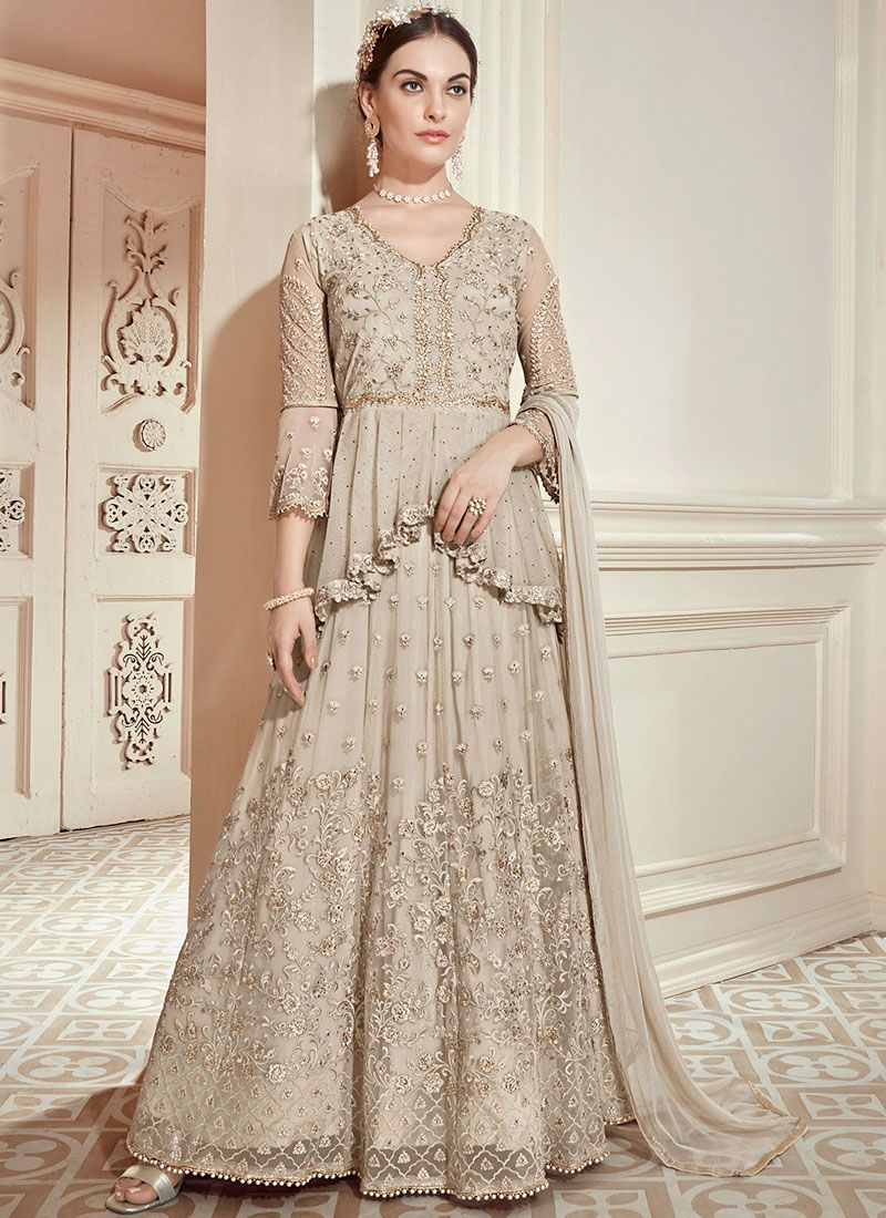 Beige Wedding Net Floor Length Anarkali Suit