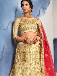 Beige Wedding Satin Silk Designer Lehenga Choli