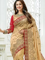 Beige Wedding Traditional Saree