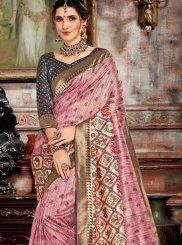 Bhagalpuri Silk Weaving Pink Designer Saree
