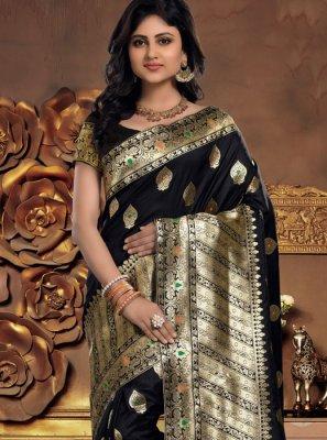 Black Abstract Print Silk Designer Saree