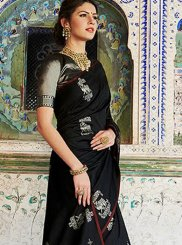 Black Abstract Print Trendy Saree