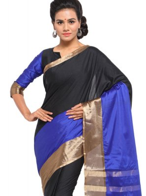 Black and Blue Color Classic Saree