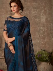 Black and Blue Patch Border Silk Silk Saree