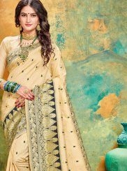 Black and Cream Traditional Saree