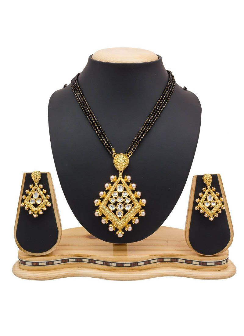 Black and Gold Stone Work Mangalsutra
