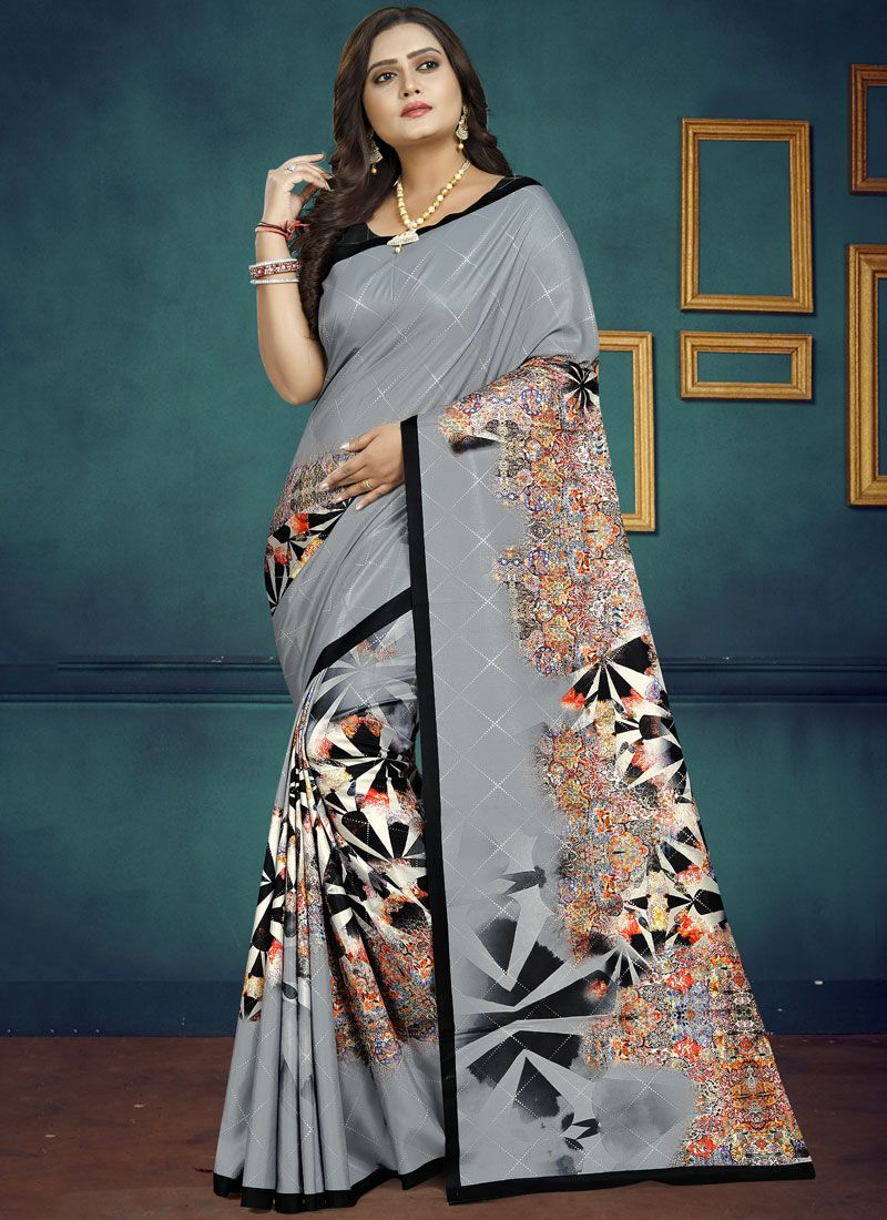 Black and Grey Casual Casual Saree