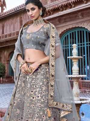 Black and Grey Embroidered Ceremonial Designer A Line Lehenga Choli