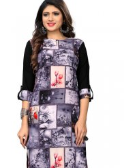 Black and Grey Faux Crepe Printed Casual Kurti
