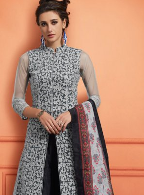 Black and Grey Festival Muslin Designer Palazzo Salwar Suit