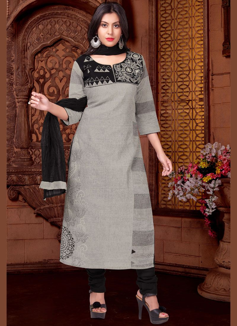 Black and Grey Party Cotton   Readymade Suit