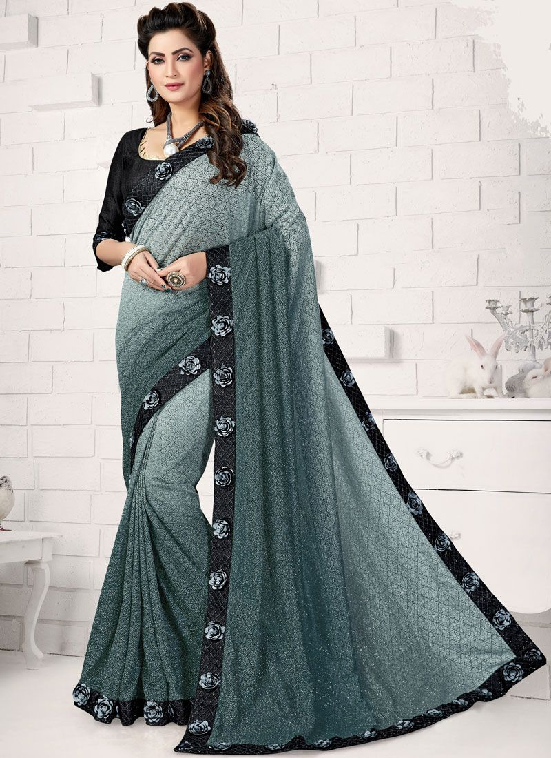 Black and Grey Patch Border Lycra Traditional Saree