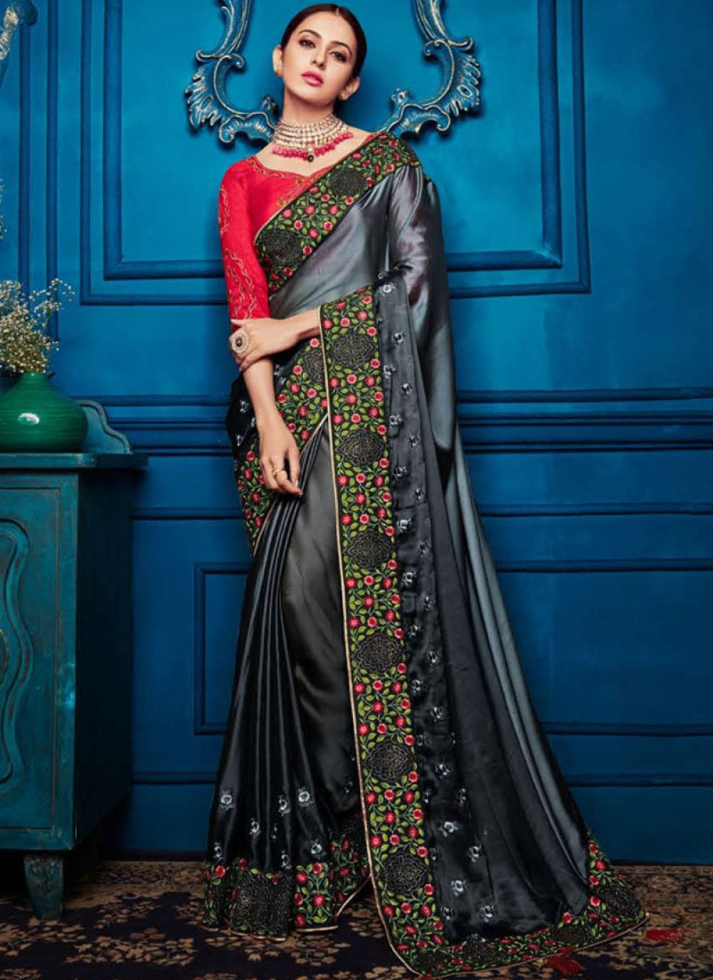 Black and Grey Patch Border Shaded Saree