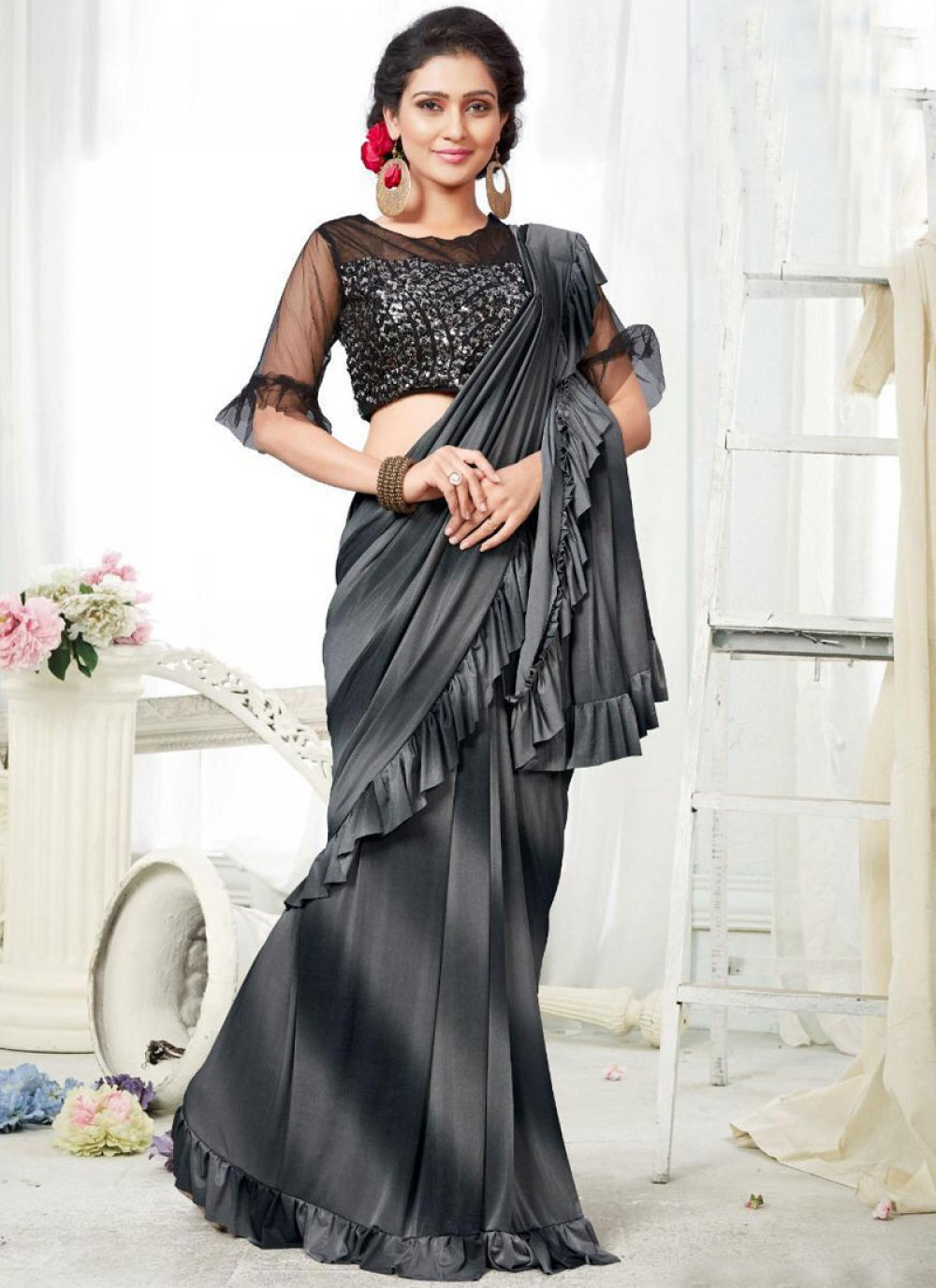 Black and Grey Shaded Saree