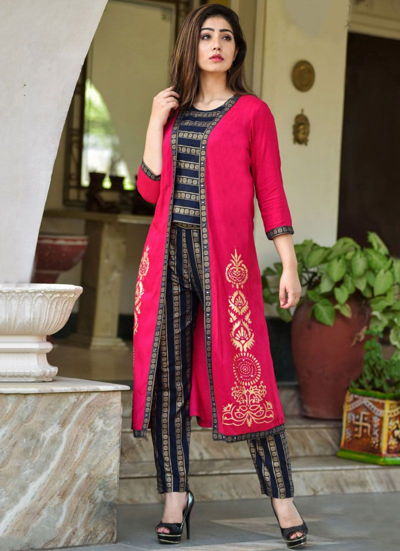 Black and Hot Pink Festival Rayon Party Wear Kurti