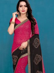 Black and Hot Pink Mehndi Casual Saree
