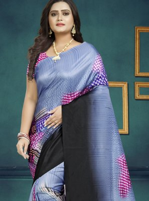 Black and Lavender Casual Saree