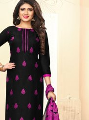 Black and Magenta Casual Churidar Suit