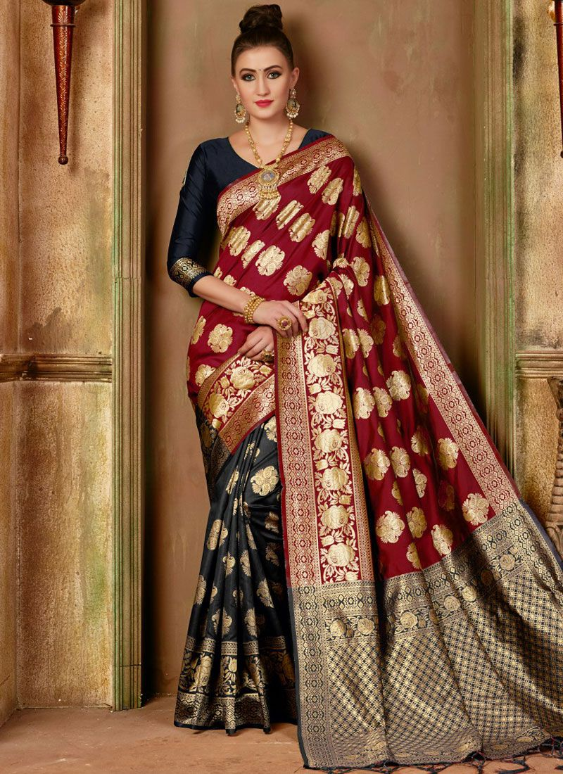 Black and Maroon Art Silk Traditional Designer Saree