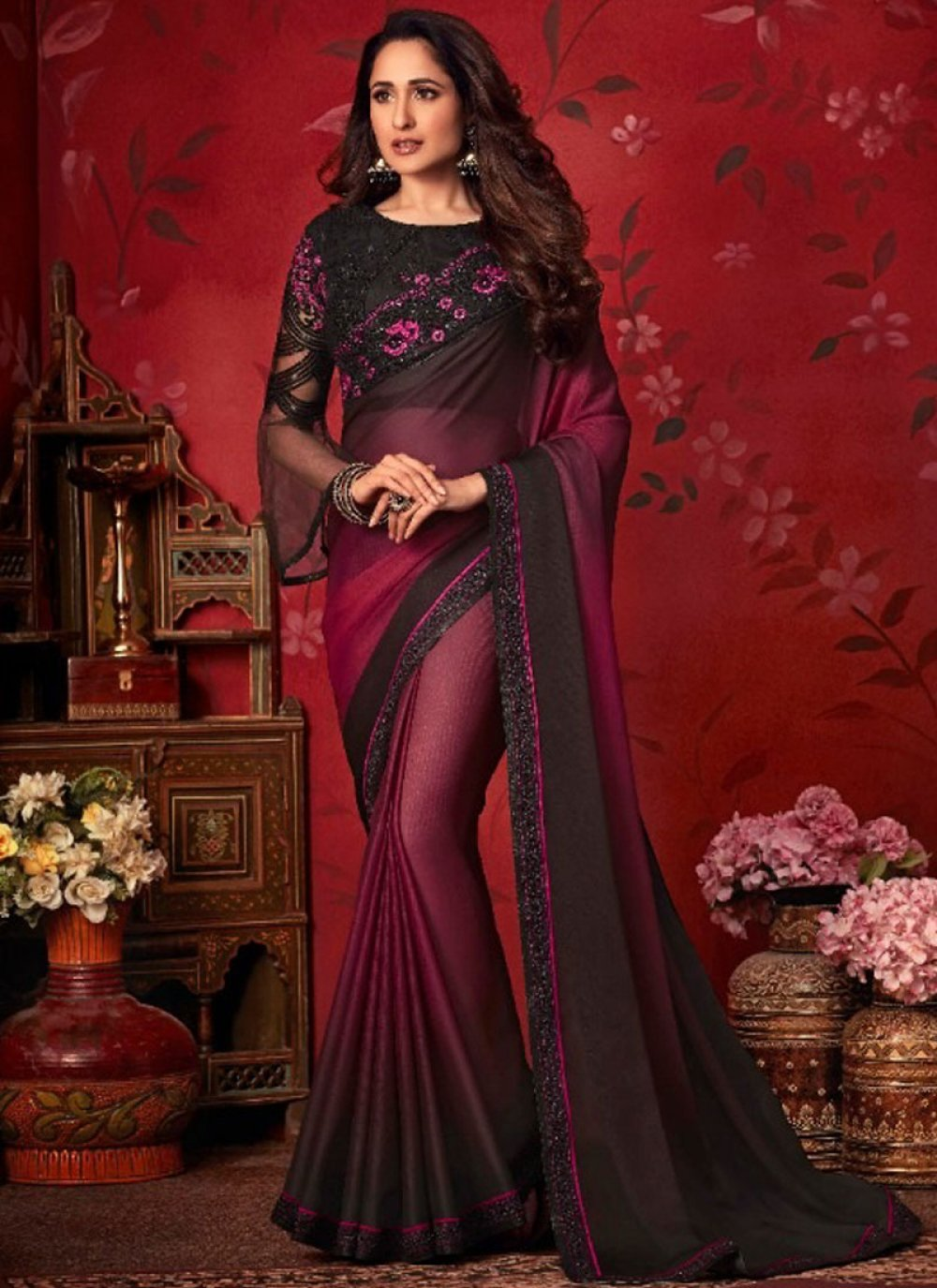Black and Maroon Digital Print Faux Chiffon Trendy Saree